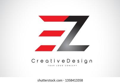 Red and BlackEZ E Z Letter Logo Design in Black Colors. Creative Modern Letters Vector Icon Logo Illustration.