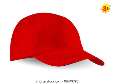 Red blank baseball cap template.