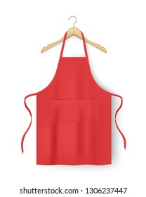 Red blank kitchen cotton apron isolated. Protective apron uniform for cooking. Vector illustration.