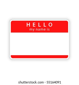 Red blank name tag sticker with shadow on white background