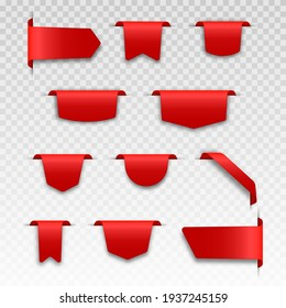 Red blank price label. Ribbons and sale banners set. 3d matted icon with transparent shadow.