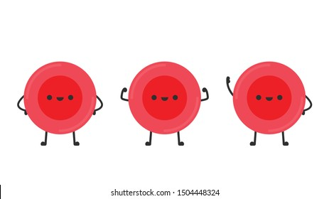 Red blood cell character design. Red blood cell vector. free space for text.