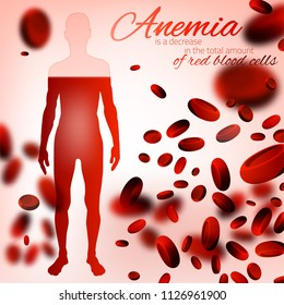 Red blood cells background. Iron deficiency anemia image. Medical and healthcare concept with a human figure in pink and red colors. Editable vector illustration.