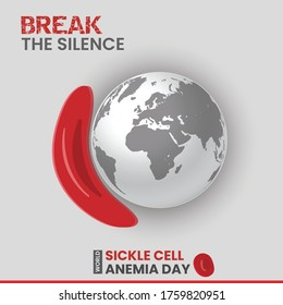 Red blood cells of sickle cell anaemia disease and normal cells, World Sickle cell Anaemia, Social media Post