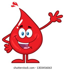 Red Blood Drop Cartoon Character Waving For Greeting. Vector Illustration Isolated On Transparent Background