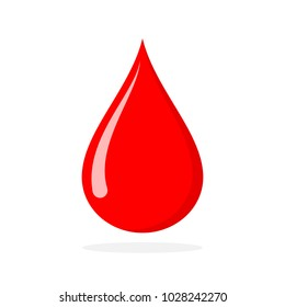 Red blood drop, icon in flat design. Vector illustration. The concept of donating blood