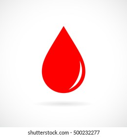 Red blood drop icon. Red blood drop vector illustration.