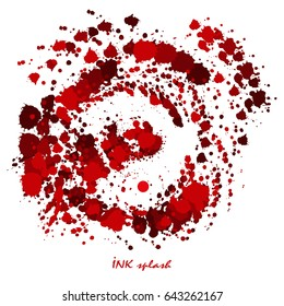 Red blood or paint splatters. Vector illustration of different blood splashes, drops isolated on white background