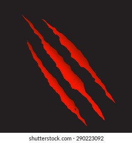 Red bloody claw deep scratches vector illustration