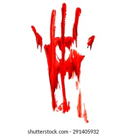 Red bloody hand print on  white background