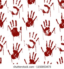Red Bloody Scary Hands Imprint Seamless Pattern Background on a White Symbol of Crime, Murder or Danger. Vector illustration of Horror Hand Print