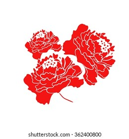 Red Blooming Peony Flower Vector Design