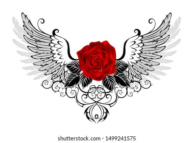 Red, blooming rose with gray, contoured angel wings, decorated with  black pattern on white background.