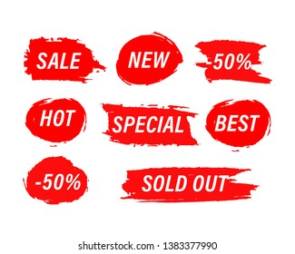 Red Blots stains of new tag label. Sale price promotion discount sticker banner watercolor paint hand drawn style.