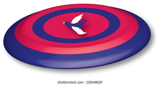 red and blue 3D frisbee with bird icon, vector graphic in 3d with effect, EPS 10