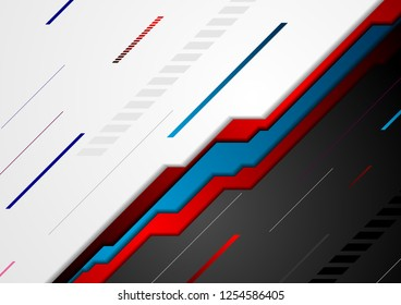 Red and blue abstract tech geometric background. Vector design