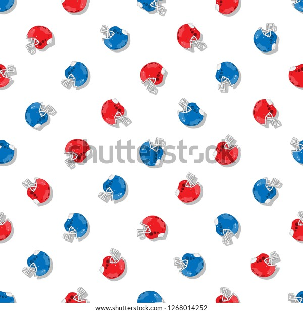Red Blue American Football Helmets Seamless Stock Vector Royalty Free 1268014252