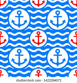red and blue anchor seamless pattern
