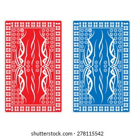 red and blue back of playing card vector