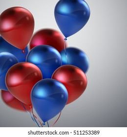 Red And Blue Balloon Bunch. Vector Holiday Illustration Of Flying Red And Blue Balloons. Birthday Or Other Holiday Event Decoration Element