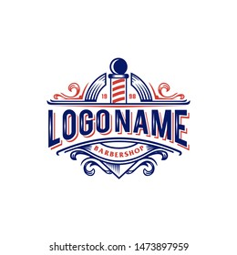 Red and blue barber Vintage retro classic barbershop logo VECTOR