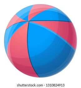 Red blue beach ball icon. Cartoon of red blue beach ball vector icon for web design isolated on white background
