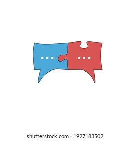 Red and blue chat icon or speech bubble as puzzle. Communication process, people interaction, speech and understanding. Agreement icon.