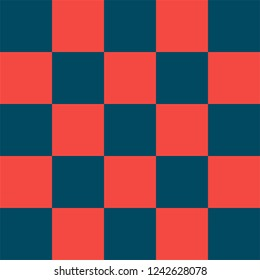 Red and blue checkered background. Christmas and new year chess cage. Chess pattern. Chess cage. Traditional chess background. Seamless texture. Vector illustration