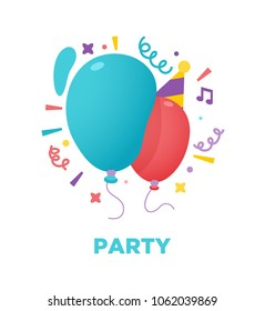 Red and blue, colorful party balloons. Birthday balloons in party hat, confetti. Vector illustration