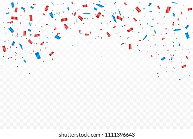 Red And Blue Confetti Falling Isolated On Transparent Background. Celebration Event & Birthday. American, Russia, France,  flag color concept. Vector