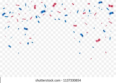 Red And Blue Confetti Isolated On Background. Celebration Event & Birthday. American, Chile, Russia, France, United kingdom flags color concept. Vector