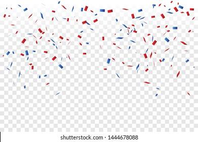 Confetti Rouge Et Bleu Isolé Sur Fond. Célébration