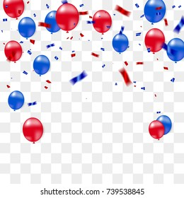 Red Blue Confetti Isolated On Transparent Background. Celebration & Party.  American or chile flag color concept. Vector