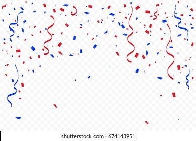 Red And Blue Confetti And Ribbons Falling On Background. Celebration Event & Birthday. American flag color concept. Vector