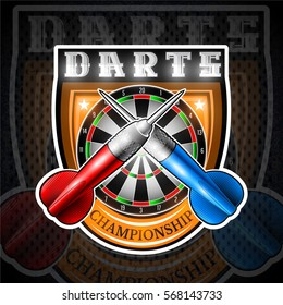 Red and blue darts crossed with round dartboard in center of shield. Sport logo for any darts game or championship