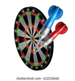 Red and blue darts on dartboard isolated on white. Sport logo for any darts game or championship