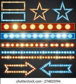 Red and blue design elements with  light bulbs, Vector illustration
