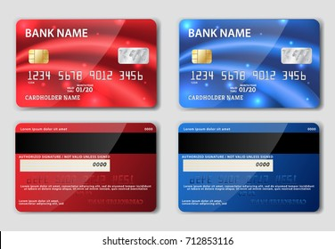 Red and blue detailed realistic credit cards on grey background. Vector illustration. Two sided. Front and back.
