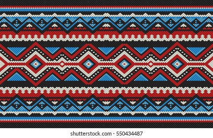 Red And Blue Detailed Traditional Folk Sadu Arabian Hand Weaving Pattern