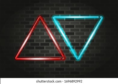 Red and blue up and down triangular arrows glowing neon sign or LED strip light. Realistic vector illustration. Black brick wall, soft shadow, metal holders.