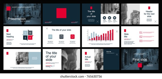 Red and Blue elements on a white background. This template is the best as a business presentation, used in marketing and advertising, the annual report, flyer and banner