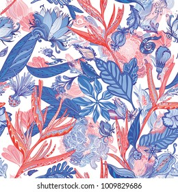 Red and Blue Exotic Pattern Seamless vector texture with tropical Asian plants and flowers on white background for textile and wallpaper design