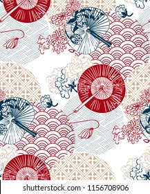 red blue fans flower japanese chinese vector design pattern