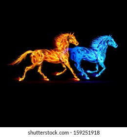 Red and blue fire horses in spectrum colors on black background.