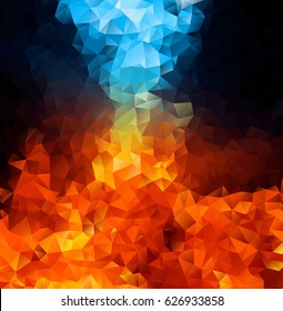 Red and blue fire on balck background, Abstract Triangle Geometrical Multicolored Background, Vector Illustration EPS10