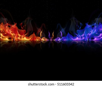 red and blue flames on a black background
