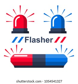 Red and blue flasher. Collection sirens. Set police flasher or ambulance or firefighters. Icon alarm emergency. Vector illustration flat design. Isolated on white background.