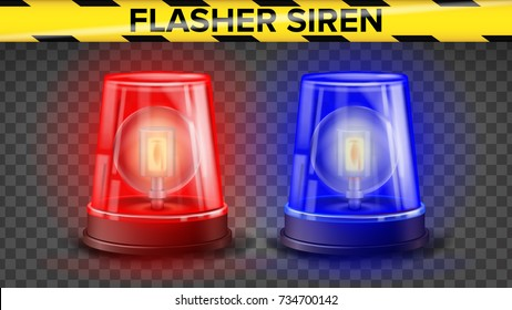 Red And Blue Flasher Siren Vector. 3D Realistic Object. Light Effect. Rotation Beacon. Police Cars Ambulance. Emergency Flashing Siren. Isolated On Transparent Background Illustration