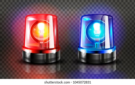 Red  and blue flashers Siren Vector. Realistic Object. Light Effect. Beacon For Police Cars Ambulance, Fire Trucks. Emergency Flashing Siren. Transparent Background vector Illustration