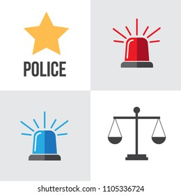 Red and blue flashers Siren vector. Flasher alert icon. Flashing light for Police, ambulance